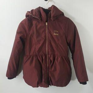 Little Marc Jacobs burgundy zip up hooded coat 10